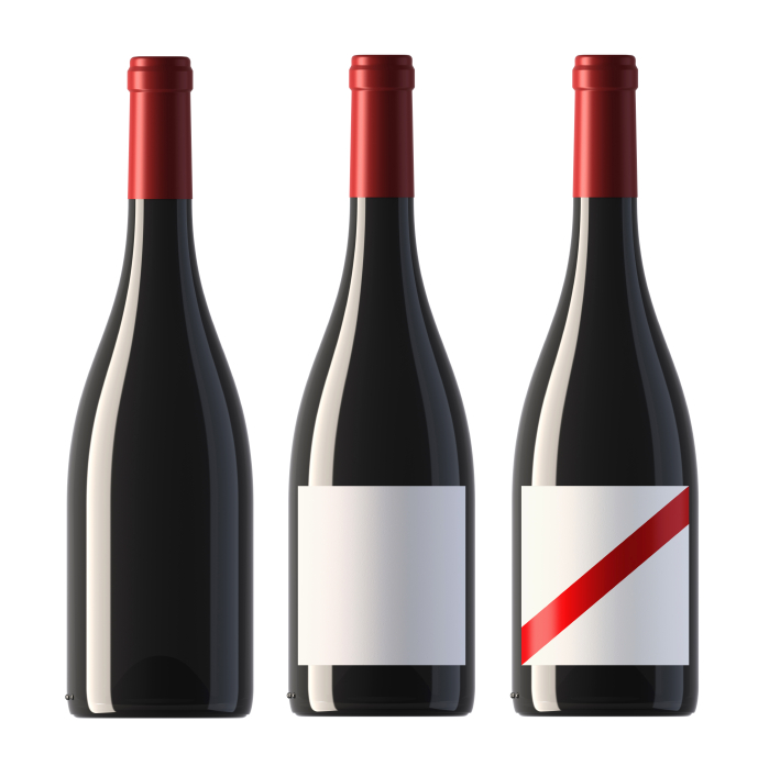 pictures of burgundy shape red wine bottles with blank labels an